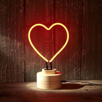 Lumosnap Red Neon Heart Table Lamp -