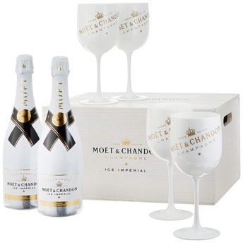 Moet Chandon Ice Imperial Champagner in Holzkiste mit 4  -