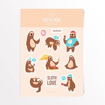 Sloth Love Aufkleber Set -