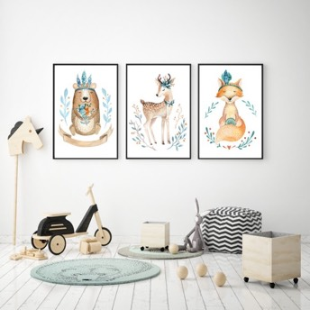 3er Set Waldtiere Prints -