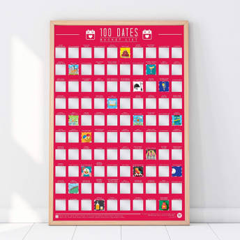 100 Dates Bucket List Rubbelposter -