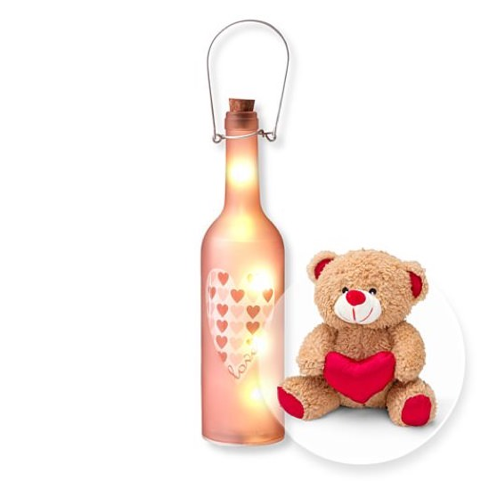 Glasflasche Love mit LED und Love-Teddy