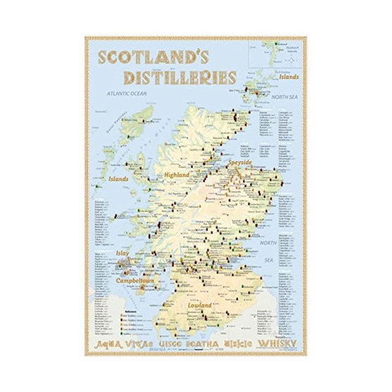 Whisky Karte Schottland.Landkarte Schottischer Whisky Distillerien Fancy Gifts